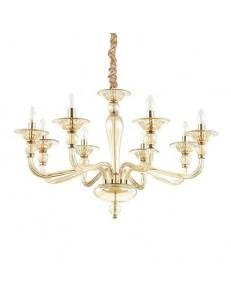 MR DESIGN: Lampadario contemporaneo 8 luci vetro soffiato ambra in offerta