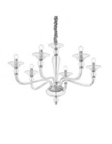 MR DESIGN: Lampadario contemporaneo 6 luci vetro soffiato trasparente in offerta