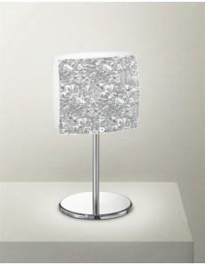 GEA LUCE: Lara lampada da comodino abat jour lumetto vetro bicolore bianco foglia argento in offerta