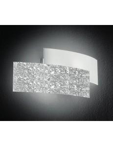 GEA LUCE: Lara applique moderna da parete vetro bianco decoro foglia argento in offerta