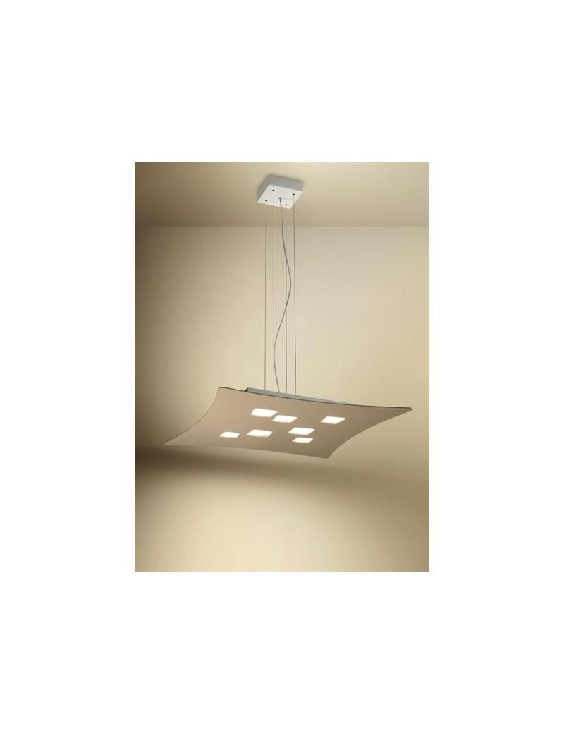 Isotta sospensione LED lampadario biemissione tortora per soggiorno
