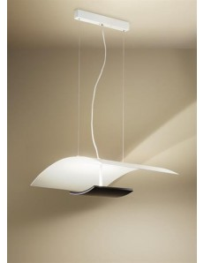 GEA LUCE: Sospensione LED bianco e nero retroilluminata 56watt dimmer 54cm in offerta