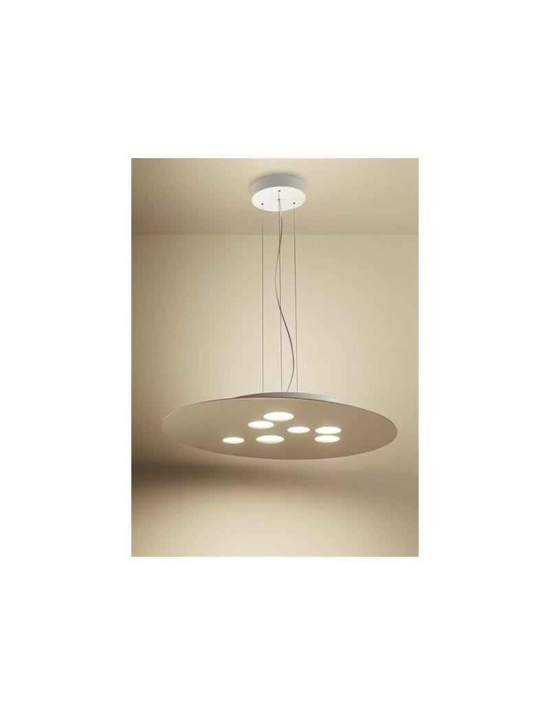 Luna lampadario moderno tortora LED doppia emissione 7+3 luci per soggiorno