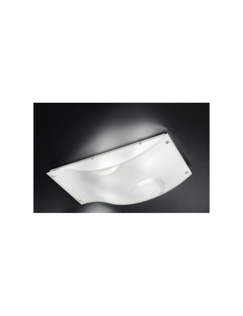 Noemi plafoniera moderna in vetro bianco ondulato per soggiorno