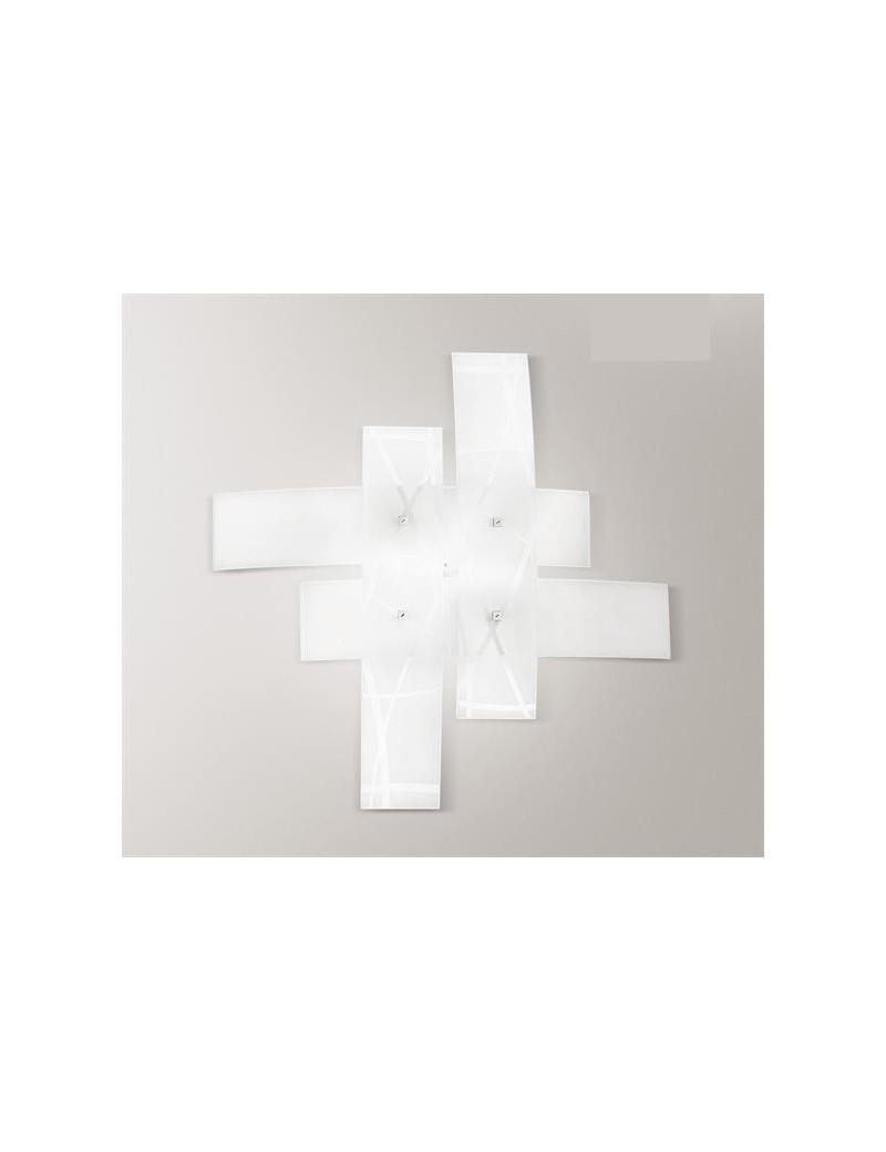 Frida medium plafoniera moderna per soggiorno vetri bianchi fili neri 70cm