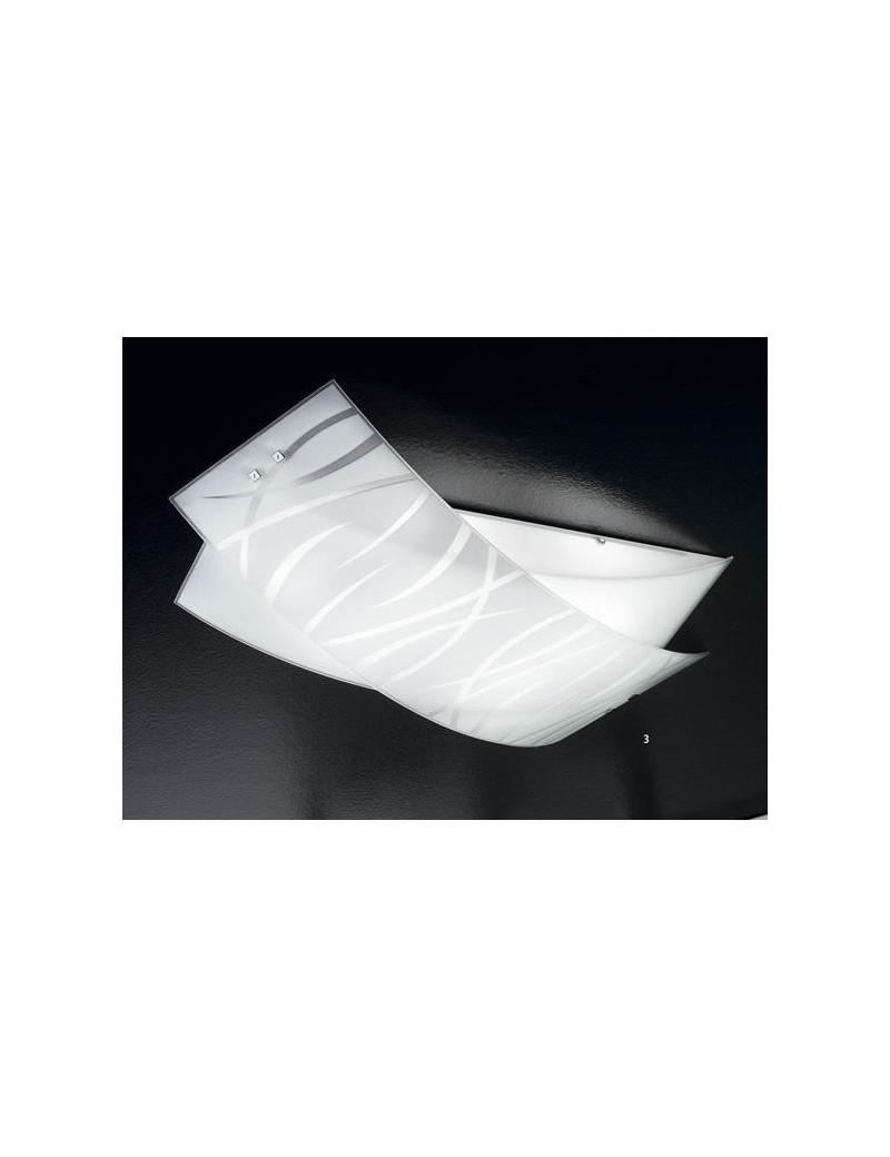 Agnese grande plafoniera moderna per soggiorno vetri fili bianchi
