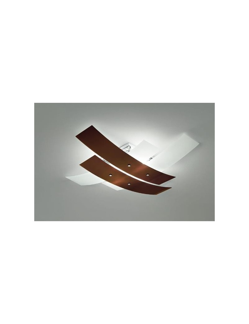 Lara plafoniera vetri bicolore bianco moka lucido per cucina moderna 50cm