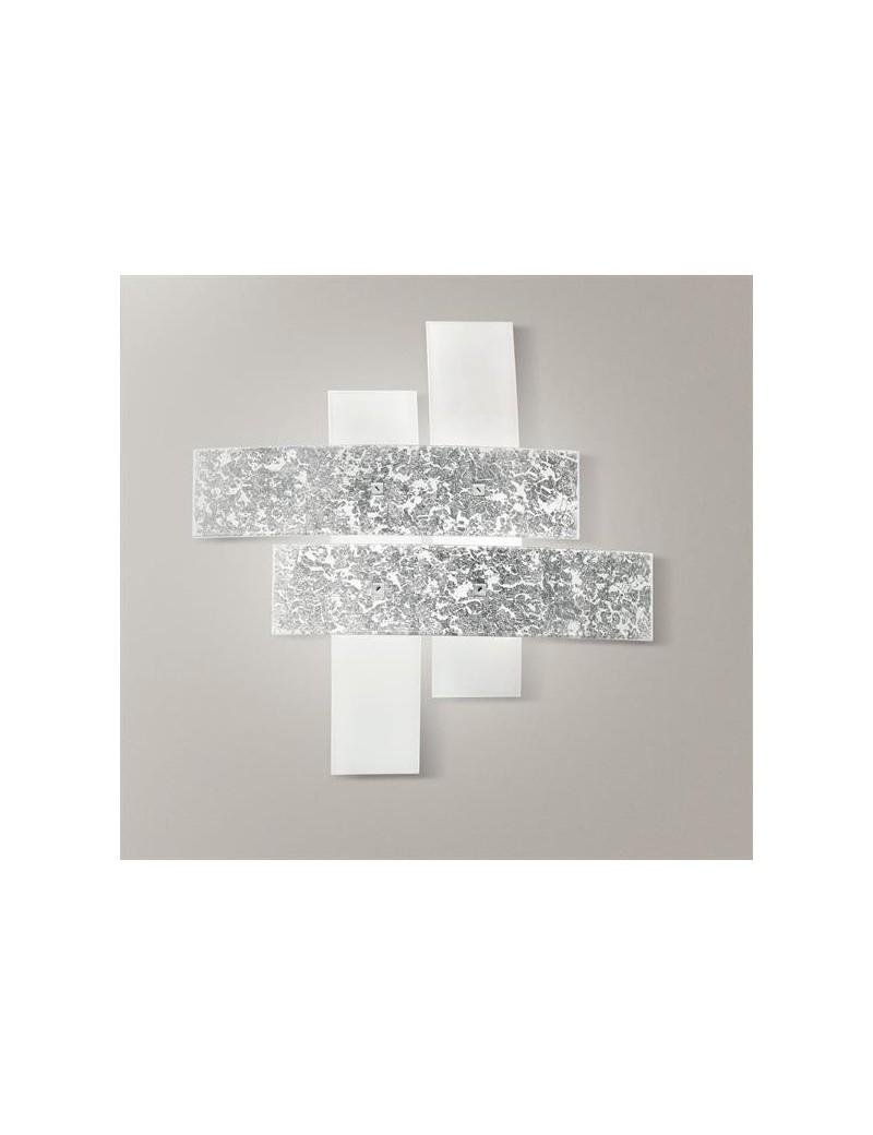Plafoniera Camera Da Letto.Lara Plafoniera Moderna Bianco Foglia Argento Per Camera Da Letto 50cm