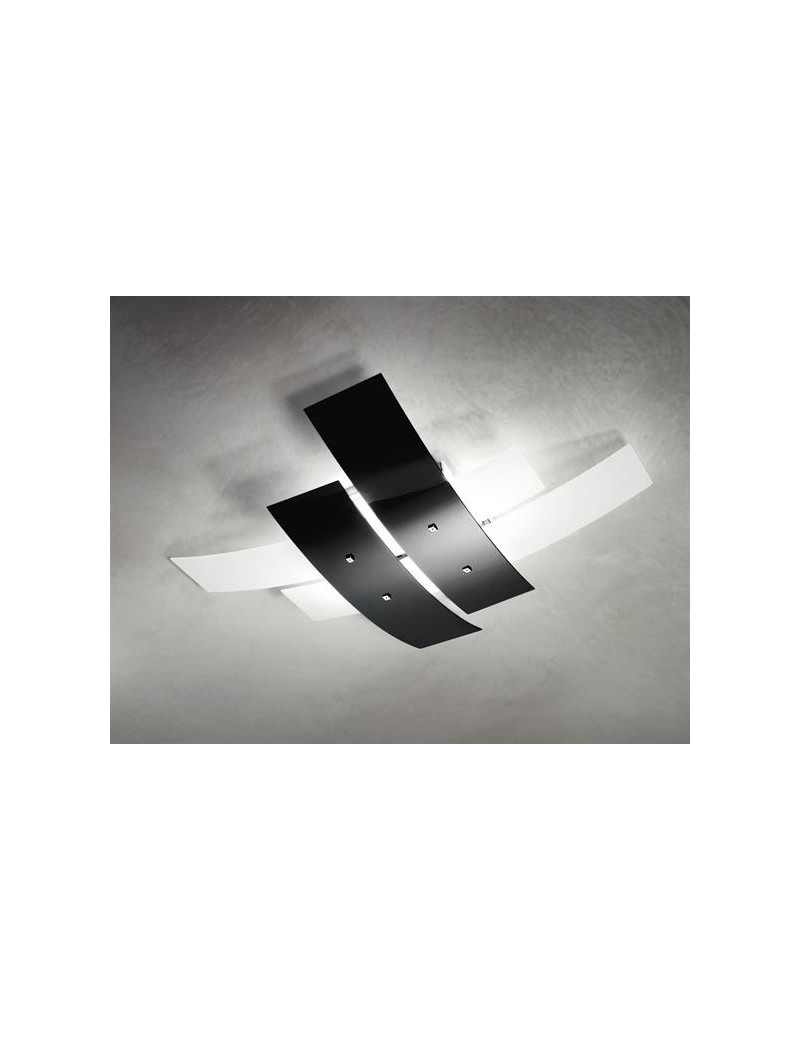 Lara plafoniera moderna per cucina vetri bianco nero lucido 50cm