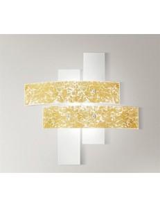 Lara plafoniera piccola vetri bianco foglia oro 50cm