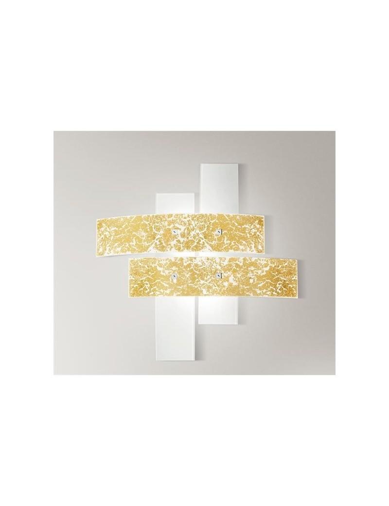 Lara plafoniera vetri bianco foglia oro per camera da letto 50cm