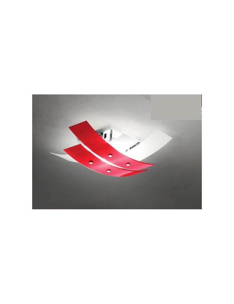 Lara plafoniera moderna rossa bianco per soggiorno 70cm