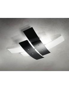 GRANDE LAMPADA DA SOFFITTO Ø91 PER SALONE MODERNO VETRI BIANCO NERO LUCIDO GEA LUCE LARA