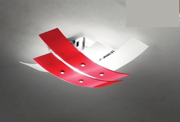 Plafoniere Moderne Vetro : Grande plafoniera Ø91cm moderno vetri bianco rosso gea luce lara