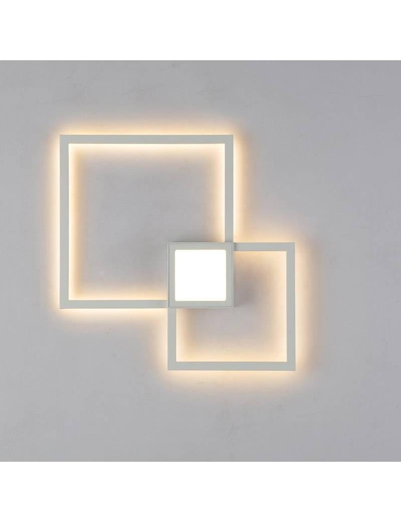 MANTRA: Mural applique LED doppio quadrato 24w luce calda bianca indiretta in offerta