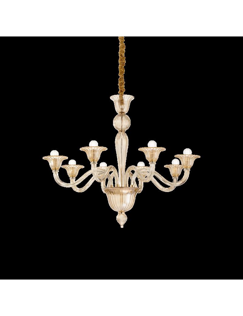 Brigitta sp8 lampadario classico ambra 89cm camera da letto