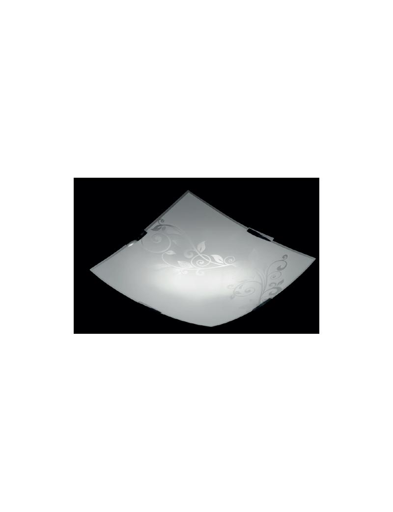 MR DESIGN: Plafoniera quadrata moderna vetro serigrafato fiori 40x40cm in offerta