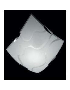 Plafoniera quadrata moderna vetro serigrafato linee 40x40cm