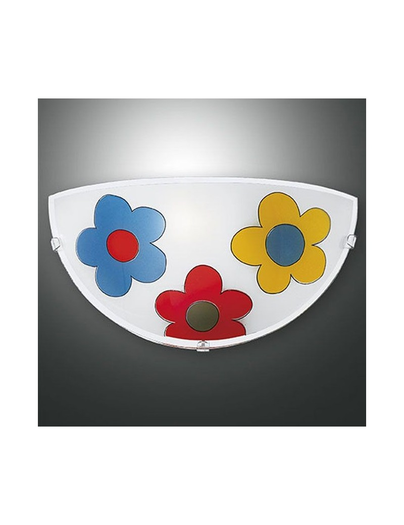FABAS LUCE: Applique rotonda design fiori 30cm per cameretta bambini in offerta