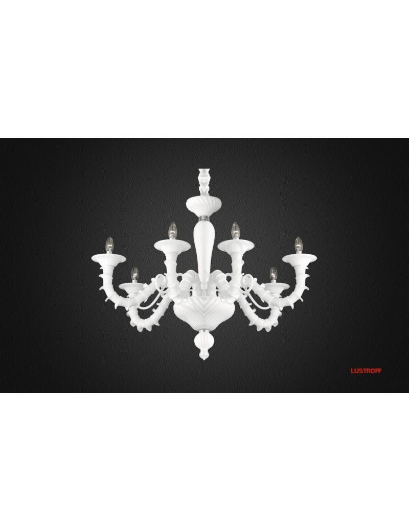 Ca'Rezzonico lampadario in vetro con 6 bracci portalampade e dettagli in metallo cromato copri catena velluto bianco