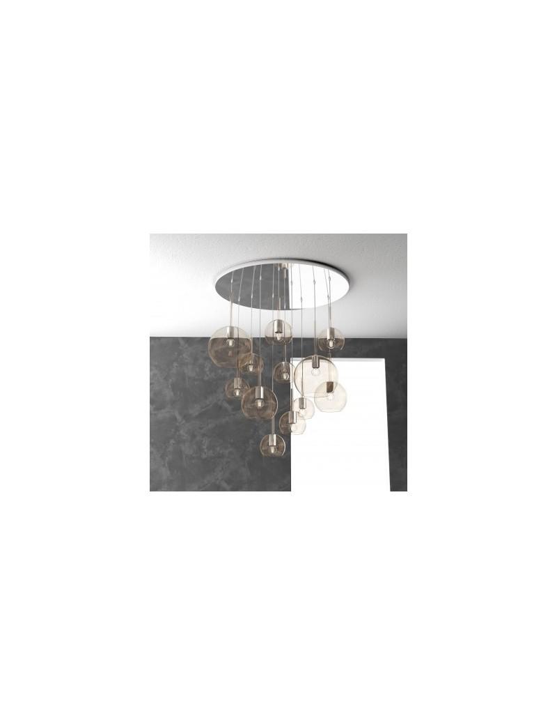TOP LIGHT: Future sospensione 12 luci vetri ambra in offerta