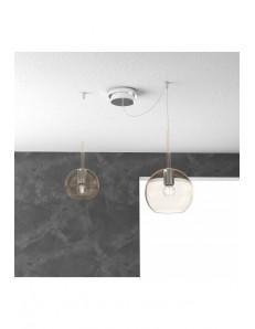 TOP LIGHT: Future sospensione 2 luci vetri ambra in offerta
