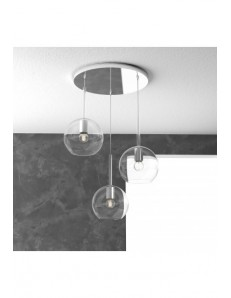 TOP LIGHT: Future sospensione 3 luci tonda vetri trasparenti in offerta