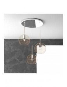 TOP LIGHT: Future sospensione 3 luci tonda vetri ambra in offerta
