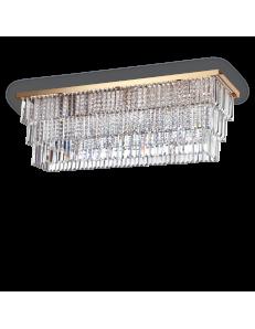IDEAL LUX: Martinez pl8 oro plafoniera rettangolare con pendenti cristallo frangia in offerta