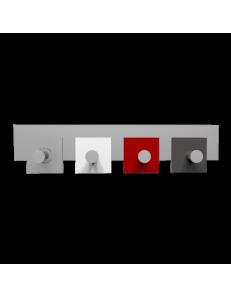 CALLEADESIGN: Stripes appendiabiti da muro moderno 4 pomelli quadrati rosso rubino bianco grigio in