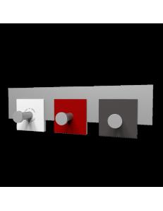 CALLEADESIGN: Stripes appendiabiti rettandolare da muro moderno 3 ganci rubino bianco grigio in
