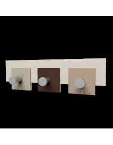 CALLEADESIGN: Stripes appendiabiti rettandolare da muro moderno 3 ganci cioccolato e beige in