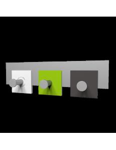 CALLEADESIGN: Stripes appendiabiti rettandolare da muro moderno 3 ganci verde mela bianco grigio in