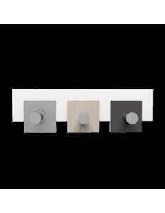 CALLEADESIGN: Stripes appendiabiti rettandolare da muro moderno 3 ganci rovere breeze grigio in