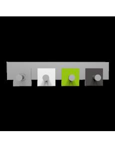 CALLEADESIGN: Stripes appendiabiti da muro moderno 4 pomelli quadrati verde mela bianco grigio in