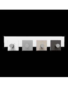 CALLEADESIGN: Stripes appendiabiti da muro moderno 4 pomelli quadrati rovere breeze bianco grigio