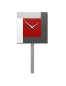 CALLEADESIGN: Stripes orologio da parete a pendolo rosso rubino grigio bianco in offerta
