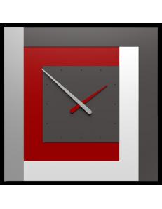 CALLEADESIGN: Stripes clock Ø 63 moderno orologio quadrato da parete rosso rubino bianco in offerta