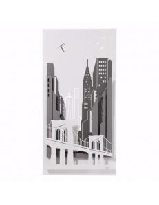 Quadro orologio moderno new york city bianco antracite ardesia 3d