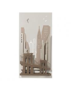 Quadro orologio moderno new york city avorio beige sabbia bronzo 3d