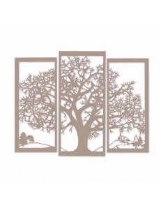 ARTI e MESTIERI: Paesaggio quadro moderno beige albero della vita in metallo in offerta