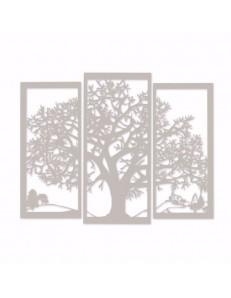 ARTI & MESTIERI: Paesaggio quadro in tre pezzi albero della vita metallo avorio in offerta