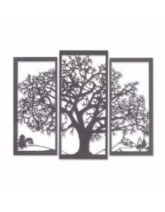 ARTI & MESTIERI: Paesaggio quadro albero della vita metallo ardesia in offerta