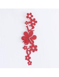 Ape sul fiore orologio moderno da muro rosso