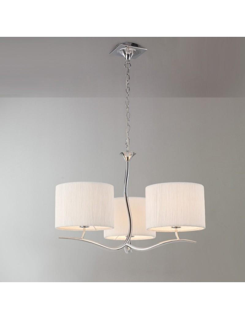 Eve bianco e cromo trilanciere lampadario paralumi in tessuto 3 paralumi