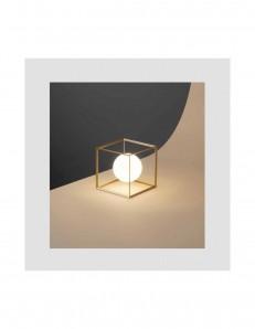 Cube lampada da tavolo in metallo oro opaco camera