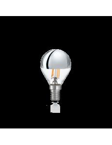 Lampadina E14 led 4w sfera vetro cromo luce calda