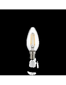 Lampadina E14 led 4w oliva vetro trasparente 3000k