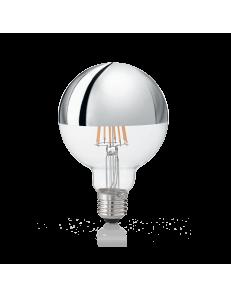 IDEAL LUX: Globo d95 lampadina E27 led 8w vetro cromo luce calda in offerta