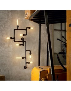 IDEAL LUX: Plumber pl8 plafoniera 8 luci stile rustico nero opaco in offerta